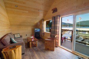 An image of the Interior living area of a cabin.