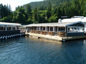 Side-angle of the restaurant at the docks