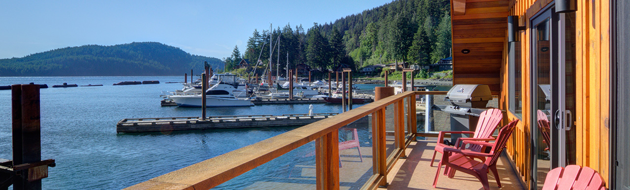 View of the marina off of a deck